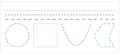 Examples of dotted and dashed lines